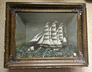 Vintage 1890-1900 Sailing Ship Diorama Old Antique Shadow Box Nice LOOK & READ
