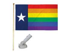 New listing 5' Wooden Flag Pole Kit W/ Nylon White Bracket 3x5 Texas Rainbow Polyester Flag