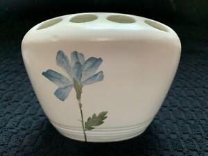 CROSCILL Toothbrush Holder - Blue Flower & Green Leaf