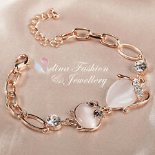 18K Rose Gold Plated Simulated Opal & Diamond Lovely Pet Cat Linked Bracelet