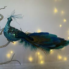 Long Turquoise Peacock Feather Bird Decoration Clip On Christmas Vintage Retro