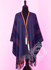 NEW HERMES 20% OFF GRAY BLUE BIVOUAC ROCABAR PONCHO CAPE SHAWL JACKET SWEATER