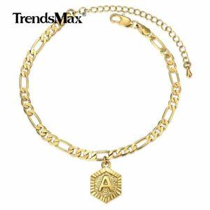 Hexagon Stainless Steel Initial Anklet Gold Letter A-Z 5MM Figaro Chain Bracelet