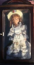 "Ashley Belle 17"" Sophia Porcelain Doll Victorian Costume With Hat In Wooden Case"