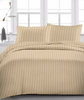 BEST BEDDING COLLECTION 100% Egyptian Cotton 1000 Thread Count Taupe Stripe