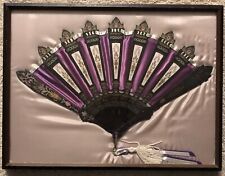 Framed Antique Black Paper Mache' hand Fan Mourning Eastlake Era