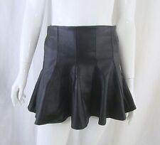 Cyber Goth Punk Black Vegan Leather Pleather High-Waist Micro Mini Skirt XS