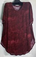 Mudd women Plus size 2X scoop neck Tunic shirt Top Stretch /side slits Burgundy
