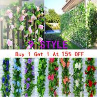 2* 8Ft Artificial Rose Garland Silk Flower Vine Ivy Wedding Garden String Decor