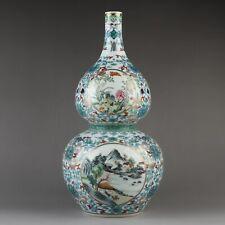Antique Chinese Collection Colorful Landscape Porcelain Gourd Shape Vase