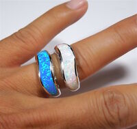 Blue or White Inlay Fire Opal on Solid 925 Sterling Silver Ring Size 6,7,8,9