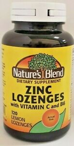 Nature's Blend Zinc Lozenges with Vitamin C and B6 120 Count -Exp Date 04-2023