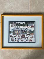 Vintage Charles Wysocki Churchyard Christmas Scene Framed Matted Print 21x17