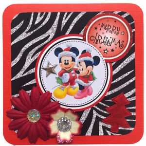 """1 x Hand Made CHRISTMAS Mickey+Minnie Topper For Card Making 10.5cm 4"""" (B206)"""