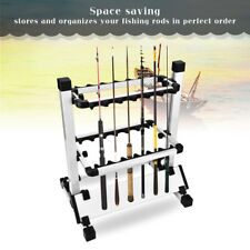 12 Rods Portable Fishing Rod Pole Holder Stand Organizer Rack Aluminum Alloy NEW