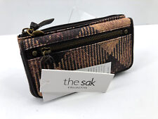 NWT The Sak Sliverton Flap Clutch Wallet COCO Heritage Brown PLAID & Leather