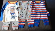 M&S 3 Prs Cotton Rich Circus Striped Pyjamas 9-12m 76cm Blue Mix BNWT