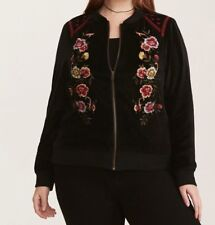 199c80f4399 Torrid Black Red Floral Embroidered Embellished Bomber Jacket 2X 18 20   99968