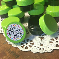 50 BLACK JARS Lime Green Caps Container Lip Balm posh DecoJars 1/4oz .25oz USA