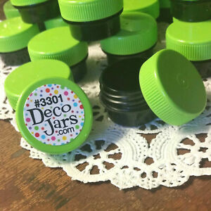 50 BLACK JARS Lime Green Caps Container Lip Balm posh DecoJars 1/4oz .25oz USA