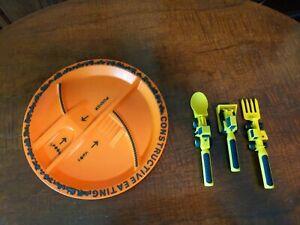 Constructive Eating Kid's Combo Set  (4 pieces) Plate & 3 Utensils construction