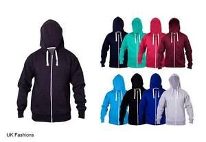 New Mens Plain Fleece Zip Up Hoody Sweatshirt Jacket Hooded Zipper Top