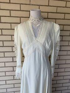 Vintage 80s Jessica McClintock Bridal Dress Wedding Victorian Size 16 Gunne Sax