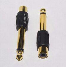 """Mono 6.35mm 1/4"""" mâle jack vers rca phono femelle prise audio adaptateur pack de 2"""