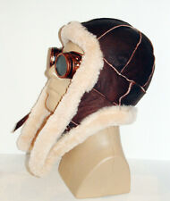 NEW! mens Sheepskin Bomber - Aviator Hat and Scarf in one Real Leather size L-XL