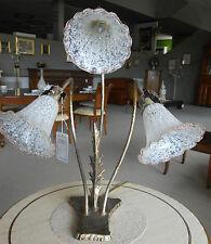 lampada di ferro battuto con coppe di vetro murano