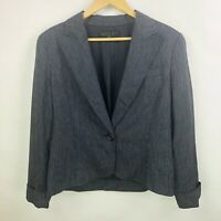 Lafayette 148 Womens Size 14 Navy Blue Blazer Jacket One Button 100% Wool Lined