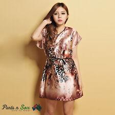 Womens Animals Pattern Silk Feel Sleeveless Nightie Sleepwear Nightdress 8 10 AU