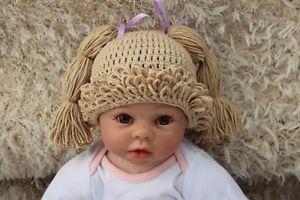 New Knit Crochet Baby Kids Cabbage Patch Doll Wig Hat Cap Newborn Photo Prop Hat