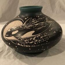 Navajo Pot by Harrison Juan Orca Design Black White And Dark Teal