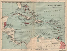 BRITISH WEST INDIES. Showing British Islands/colonies. Caribbean 1914 old map