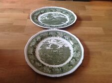 Adams Ironstone English Scenic Green 1 Round 32cm & 1 Oval 33 by 26cm Platters