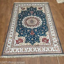 YILONG 5'x8' Blue Hand Knotted Classic Silk Rugs Carpets Rugs Lotus Design 313AB