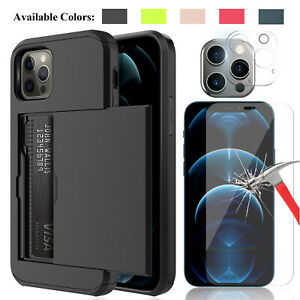 For iPhone 12 Pro Max / 12 mini Wallet Card Holder Case Lens & Screen Protector