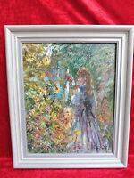 sehr schönes Gemälde__Mädchen im Blumengarten__signiert __Künstlergemälde !