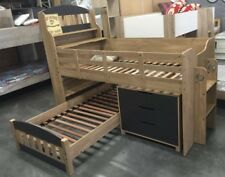 single loft bunk oak and charcoal 2 X Beds Storage NEW DESIGN Kids Bargain