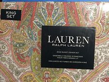 NEW RALPH LAUREN Paisley 3PC DUVET COVER SET KING Yellow Coral Teal Lime Cotton