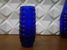 Vase kobaltblau 60er Rillen Design nahe Wagenfeld TRUE VINTAGE 60s glass vase