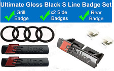 Audi S Line Badge Gloss Black - Rear Rings - Grill - Side - Ultimate set