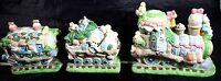 Lighted Easter Train Set Porcelain Hand Painted Eggs Rabbits Bunnies Flowers