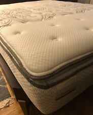 Queen Pillow-top firm mattress, black and white in great condition