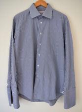 Rhodes & Beckett Mens Striped Shirt Slim R 43/17 Blue White Cotton French Cuff