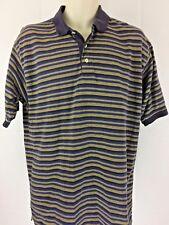 Gant Men's Polo Short Sleeve Striped Blue Gold Size Large