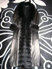 Manteau Noir en Cuir et Fourrure GIORGIO T.38 NEUF