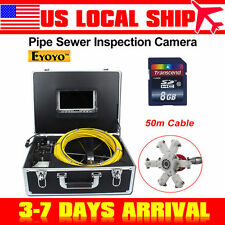 """US! 50M/164ft Sewer Camera Pipe Pipeline Drain Inspection Snake 7"""" LCD 8GB DVR"""
