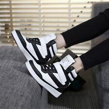 Womens Hidden Wedge Heels Platform High Top Sport Shoes Lace Up Solid Sneakers